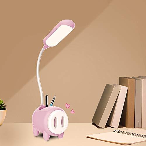 Lámpara de mesa LED con forma de cerdo, soporte para lápiz, base de carga, interruptor táctil, regulador de intensidad de luz de estudio, lámpara de escritorio para habitación o mesita de noche