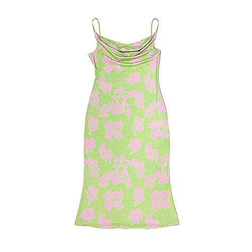 Beautmell Vestido sexy de mujer con estampado de teñido anudado, sin mangas, bodycon multicolor, Y2K, vestido de verano, verde, L
