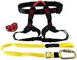 NiceDD Arnés de escalada Arnés de seguridad de cintura con polea de tirolesa Cordón Carro y cordón con mosquetón de acero de alta resistencia de doble bloqueo