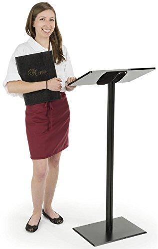 Displays2go CLRLECBNDB Floor Standing Speaking Podium, Slanted Top, Quick Assembly, Black