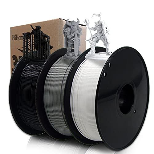 3D Printer PLA Filament Bundle-3 Löffel Pack (Schwarz/Weiß/Grau),Kompatibel für 3D-Drucker, 0,5kg 1.1 lbs/Löffel, Gesamt 1,5kg 3D-Druckmaterial