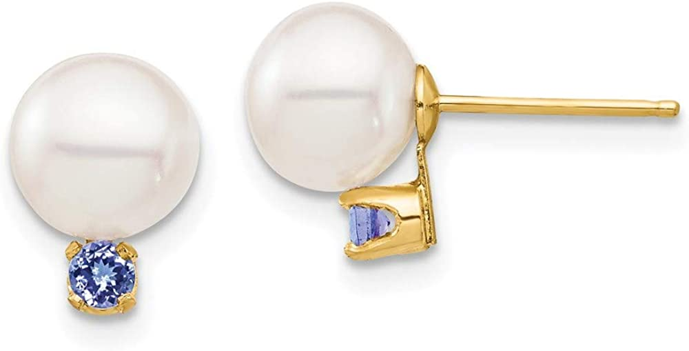 14K 7-7.5mm White Round Freshwater Cultured Pearl Tanzanite Post Earrings 9.61mm style XF753E/TZ