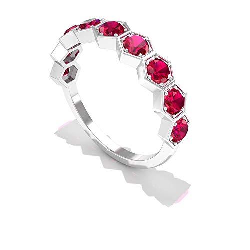 Anillo geométrico de rubí certificado SGL de 1,35 ct, anillo de eternidad hexagonal de boda, único para mujer, anillo de compromiso, con piedras preciosas de oro, 14K Oro blanco, Size:EU 62