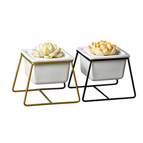 qucaojun Nordic Keramik Quadrat Blumentopf Sukkulenten Vase mit Eisen Regal Desktop Handwerk Ornament Dekoration Dekoration Geschenke Geschenke