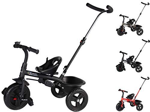 Clamaro 'Buttler Basic' 2in1 Kinder Dreirad ab 1 Jahr mit lenkbarer Schubstange, mit flüsterleisen Gummireifen, Vor- und Rücklauf, Kinderdreirad für Jungen und Mädchen - Schwarz matt