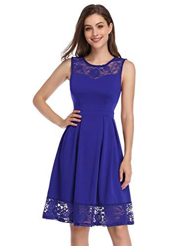 KOJOOIN Damen Elegant Kleider Spitzenkleid Ohne Arm Cocktailkleid Knielang Rockabilly Kleid Empire Blau S