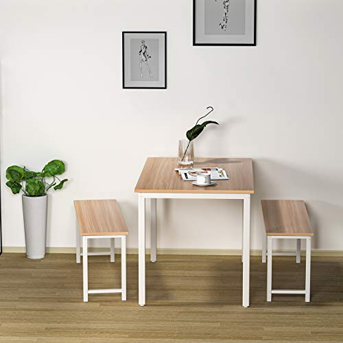 HCWORLD 3 Pieces Dining Set, Kitchen Table and Chairs for 2-4, Perfect for Breakfast Nook, Living Room(White)