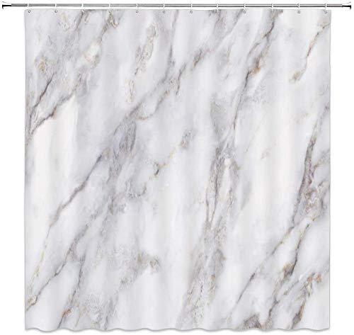 DINGQING Marmor Duschvorhang Granit Textur Muster mit Skizze Natur Effekt Risse Antiker Stil ImageFabric Polyester Wasserdicht Badezimmer Decoe Set mit Haken 71x71 Zoll Weiß Grau