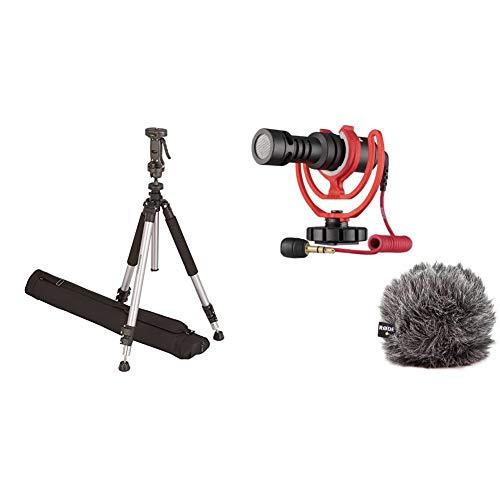 Amazon Basics Treppiedi con testa con impugnatura a pistola, con borsa & Rode Microphones Microfono Direzionale Compatto per fotocamere DSLR, videocamere e registratori audio portatili