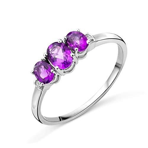 Miore Ring Damen Trilogy Amethyst Verlobungsring Weißgold 9 Karat / 375 Gold mit Edelstein lila Amehtyst 0.67 Ct und Diamanten Brillanten 0.02 Ct, Schmuck