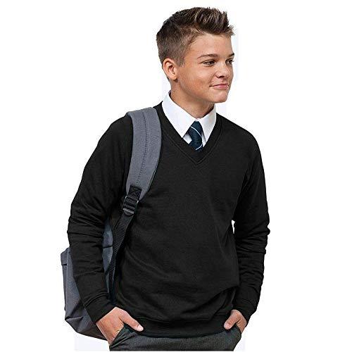 Ages 3-13 Boys Girls Unisex Unisex School Jumper V Neck Fleece Sweatshirt...