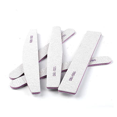 WUYOO 5 limas profesionales de uñas de grano 100/180, pulidor de doble cara, para uñas de gel natural, resistente al desgaste