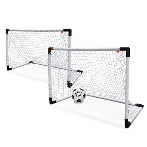Mondo Toys - Goal Post Set 2 Mini - Set 1 / 2 Porta da Calcio per Bambini con Rete - Pallone Mini Ball INCLUSO - colore bianco / nero - 18014