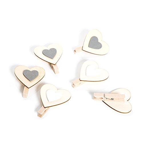6 sztuk małych szaro-białych klamerek dekoracyjnych w kształcie serca, 6 cm jako dekoracja bożonarodzeniowa, dekoracja ślubna, Walentynki, urodziny, Dzień Matki – ozdobne klamerki drewniane mini spinacze do bielizny