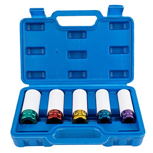 BTSHUB 5pcs 1/2in Impact Drive Lug Nut Socket Set Plastic Protective Sleeve – Non-Marring, Color-Coded, Thin-Walled Wheel Rim Protectors, 15mm 17mm 19mm 21mm 22 mm