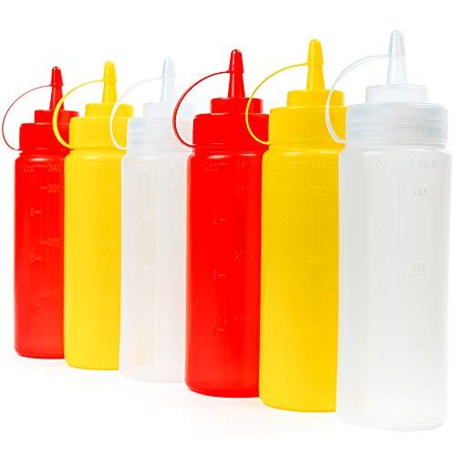 8 Biberon Salsas con Tapas de Rosca, 340ml (Rojo Transparente Amarillo) - Dispensador de Botellas de Plástico para Condimentos Ketchup Mostaza Vinagre Salsa Aceite - a Prueba de Fugas y Libre de BPA