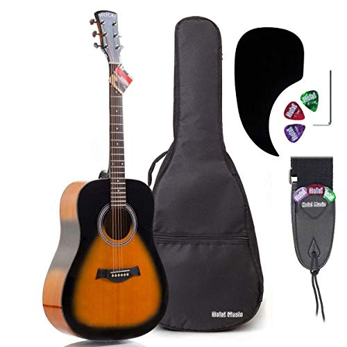 Acoustic Guitar Bundle Dreadnought Series by Hola! Music with D'Addario EXP16 Steel Strings, Padded Gig Bag, Guitar Strap and Picks, Full Size 41 Inch (Model HG-41SB), Vintage Sunburst