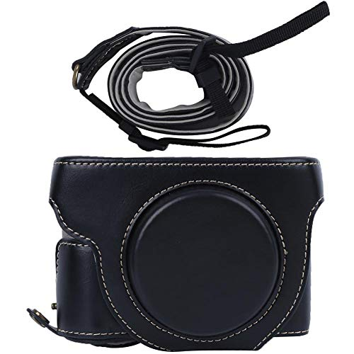 Akozon Camera Case Bag Cover PU Leather Camera Hard Shell Case Bag Cover with Strap for Canon PowerShot G5X Mark II G5XII Photography Accessories (black)