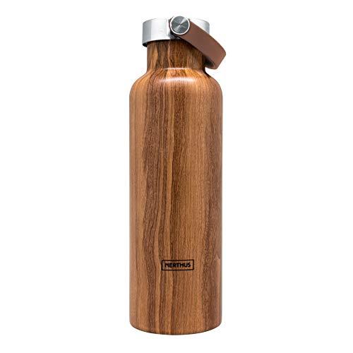 NERTHUS FIH 766 Botella Termo Tapón Asa Doble Pared para frios y Calientes Color Madera de Acero Inoxidable 750 ml, Libre de BPA, 18/8