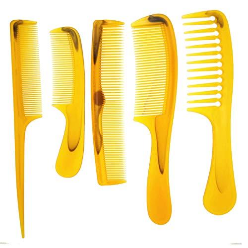 Plástico barba pelo peine Set 5pcs/pack pelo peluquería ancho/dientes/dientes ámbar/naranja Hombres Mujer Toda la Familia puede usarlo