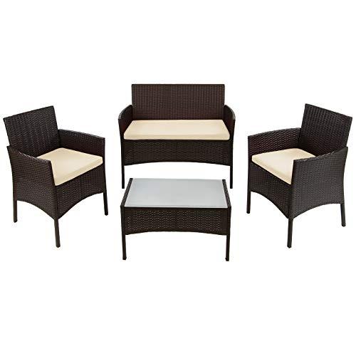 BB Sport 7-teilige Polyrattan Sitzgruppe für 4 Personen inkl. Sitzpolster und Tisch Balkonmöbel Set Sitzgarnitur, Farbe:Schwarz-Braun meliert/Sandstrand