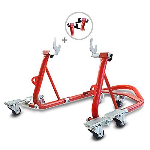 ConStands Mover I - Motorrad Montageständer Yamaha MT-07 Tracer Rot Hinten Rangierhilfe Hinterrad-Ständer Heber Universal