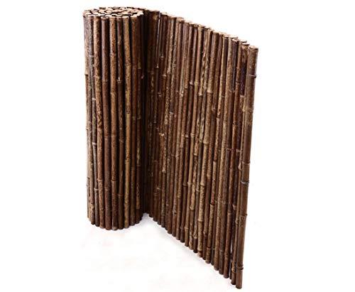 Bambusmatte schwarz, sehr stabile Ausführung, 100x250cm, Bambusrohrdurchmesser ca.22 bis 30mm - Sichtschutzmatte Bambus Matten