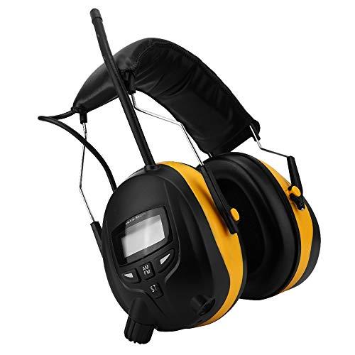 Topiky Radio Orejeras Protección auditiva, NRR 28dB Protector electrónico de audición Pantalla LCD Radio Am FM Orejera