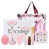 deciniee rullo di giada, rullo facciale con set regalo gua sha set da 6 pezzi strumento per massaggio della pelle naturale quarzo rosa strumenti di bellezza set rullo facciale per rassodare