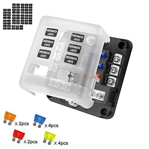 Caja de Fusibles Porta fusibles 6 Vías Portafusibles con Lámpara de Alerta LED Kit Tamaño Hoja Fusible Caja de Bloque Sostenedor para Coche Barco Marino Triciclo