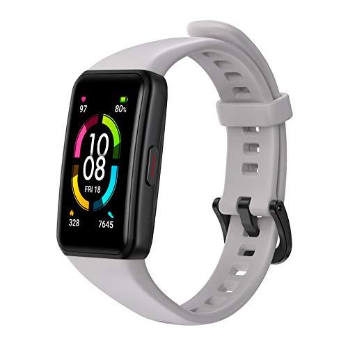 HONOR Band 6 Pulsera Inteligente de Actividad, Monitor de Actividad, Pantalla Pulsómetro Fitness Tracker, SpO2, 1.47' Pantalla AMOLED a Color Smartwatch para Mujer Hombre, Gris