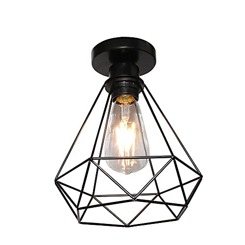 iDEGU - Lámpara de techo industrial retro de hierro y jaula, diseño vintage con pantalla de lámpara para cocina, entrada, dormitorio, café, negro, 20 cm