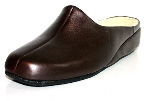 Fortuna 417051 Sylvia Cosy G Hausschuhe Lederschuhe Damen Slipper Pantolette Lackleder Farbe Bronze, Schuhgröße 43.5