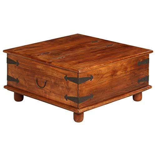 vidaXL Table Basse en Bois d'Acacia et Finition en Sesham Table de Rangement