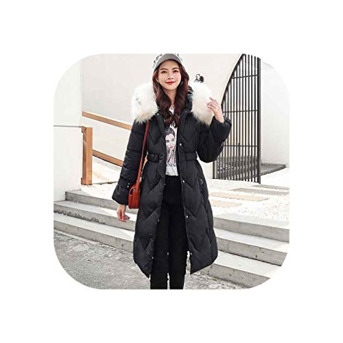 QianQianStore Winter Parkas Womens Thicken Down Cotton Jacket Coat Warm Down Cotton Coats Female Hooded Jackets,Black,XXL