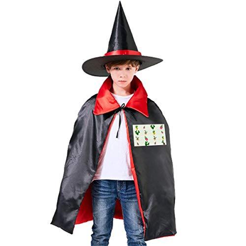 NUJSHF - Capa con Capucha Unisex con diseño de Cactus en macetas para niños, Ideal para Halloween, Fiestas, Disfraces de Cosplay