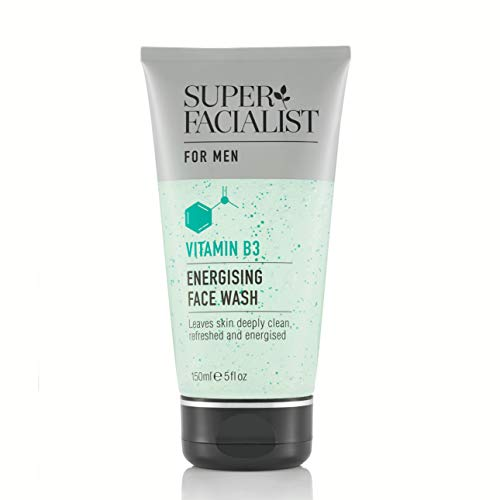 Super Facialist Mens Face Wash Energising with Vitamins B3 & E, Cleanses Daily Impurities 150ml. Oil- Free, Vegan Friendly cleanser. Made in UK.