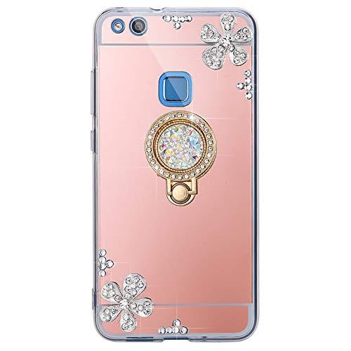 ISAKEN Compatibile con Huawei P10 Lite Cover[Ring Holder] - Specchio Design Morbida TPU Custodia...