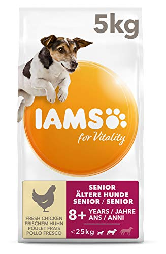IAMS for Vitality Senior Hundefutter trocken für kleine & mittlere Rassen mit frischem Huhn, 5kg