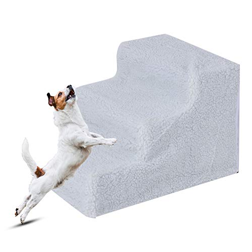 lahomie Hundetreppe,3 Stufen Haustier Treppe Hundetreppe Haustiertreppe Plüsch Step Haustier Treppe Haustiertreppe Katzentreppe für Hunde Katzen Hundetreppe mit Plüschbezug 45.5 * 36 * 31 cm(Weiß)
