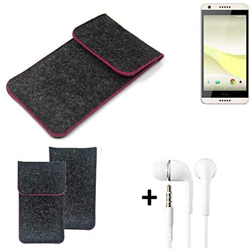 K-S-Trade Filz Schutz Hülle Für HTC Desire 650 Schutzhülle Filztasche Pouch Tasche Handyhülle Filzhülle Dunkelgrau Rosa Rand + Kopfhörer