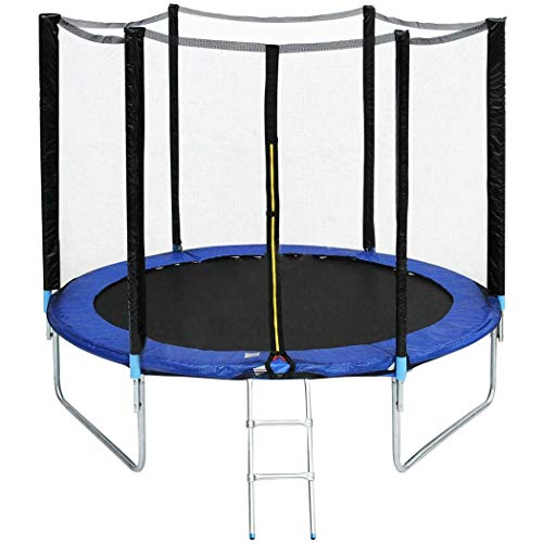 Sklepee 8FT/10FT Kids Trampoline with Safety Enclosure Net and Frame Cover Outdoor Bounce Trampoline...