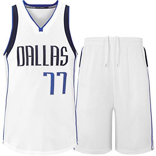 Dallas Hombres de Camisetas de Baloncesto y Pantalones Cortos 77# Nombres de Costura y números Manténgase de alojamiento Seco Basketball Jerseys Regalo para Pascua White-XXXL