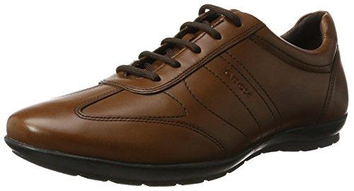 Geox UOMO Symbol B, Zapatos de Cordones Hombre, Marrón (Cognac), 47 EU