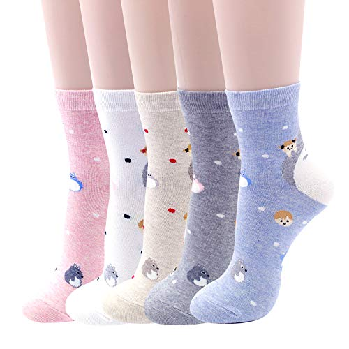 Womens Famous Japanese Animation Cartoon Crew Socks (Totoro 5 Sets)