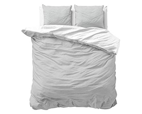 SLEEP TIME 100% Baumwolle Bettwäsche 200cm x 200cm Weiß/Grau - weich & bügelfrei Bettbezüge mit Reißverschluss - zweifarbiges Bettwäsche Set mit 2 Kissenbezüge 80cm x 80cm