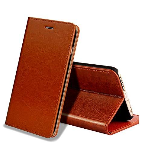 EATCYE Coque iPhone 6S,Housse iPhone 6, Premium Étui [en Cuir Véritable] [Antichoc TPU] Cuir Housse à Rabat [Fermoir Magnétique] pour Apple iPhone 6S/iPhone 6 (Marron)