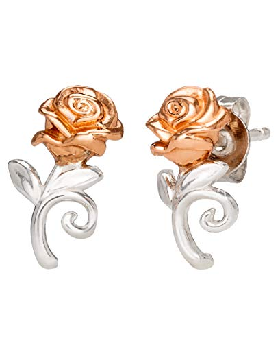 Disney Beauty and the Beast, Sterling Silver Two Tone Rose Stud Earrings