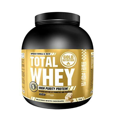 Goldnutrition Total Whey Proteina 2kg, Chocolate Blanco, Aumenta y Conserva Músculos