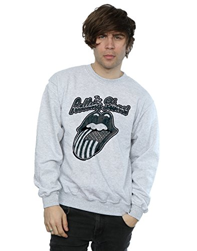 Rolling Stones Hombre Monochrome American Tongue Camisa De Entrenamiento Medium Gris Sport